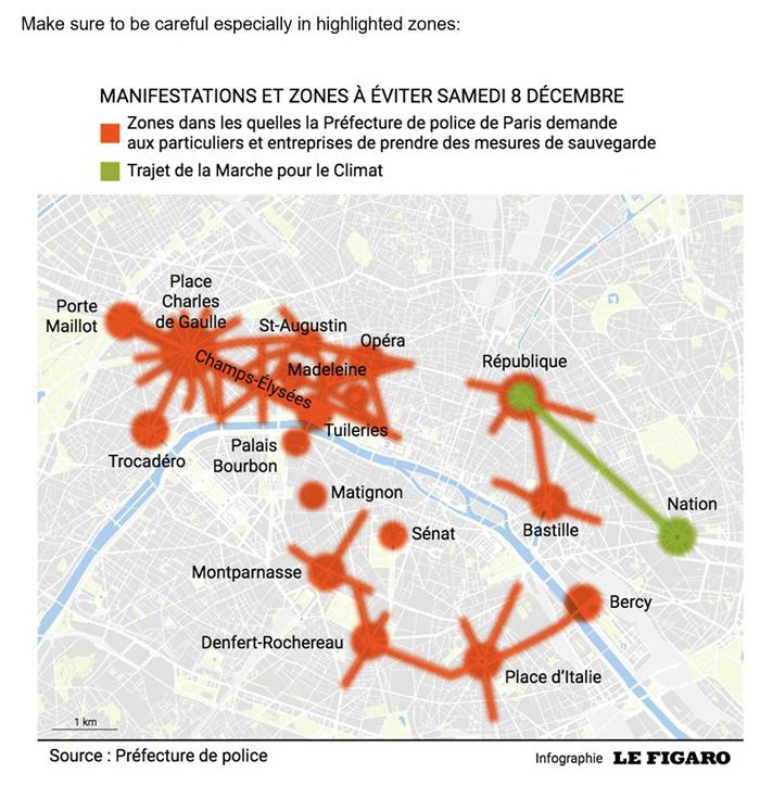 パリ 黄色ベスト デモ シャンゼリゼ